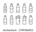 plastic bottle line icons set...