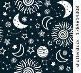 seamless pattern with sun ... | Shutterstock .eps vector #1789614308