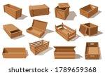 wooden boxes  vector parcels... | Shutterstock .eps vector #1789659368