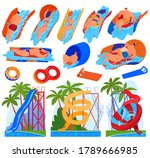 colorful aquapark set of... | Shutterstock .eps vector #1789666985