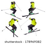 collection of skier jumping... | Shutterstock . vector #178969382