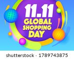 abstract 11.11 sale banner with ... | Shutterstock .eps vector #1789743875