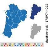 set outline maps of nouvelle...   Shutterstock .eps vector #1789744022
