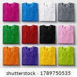 Folded Colorful T Shirts On...