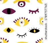 hand drawing evil eyes seamless ... | Shutterstock .eps vector #1789757765