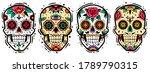 mexican skulls set. vector... | Shutterstock .eps vector #1789790315