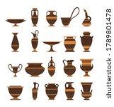 set of ancient greek pottery...   Shutterstock .eps vector #1789801478