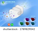 set of cloth face mask... | Shutterstock .eps vector #1789829042