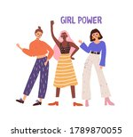 three hand drawn diverse woman...   Shutterstock .eps vector #1789870055