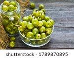 Ripe Green Gooseberries In A...