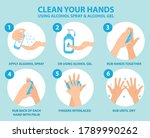 clean your hands using alcohol... | Shutterstock .eps vector #1789990262