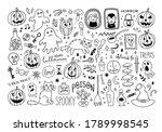 halloween doodle set. cute... | Shutterstock .eps vector #1789998545