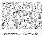 halloween vector doodle set.... | Shutterstock .eps vector #1789998548
