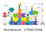 people connecting pieces of... | Shutterstock .eps vector #1790013308