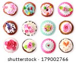 Постер, плакат: cupcakes with beautiful decoration