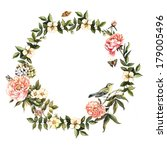 vintage watercolor wreath with... | Shutterstock . vector #179005496