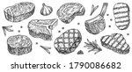 steak sketch. hand drawn beef ...   Shutterstock .eps vector #1790086682