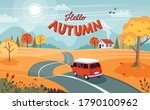 autumn trip. landscape with a... | Shutterstock .eps vector #1790100962
