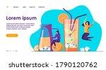 happy girls drinking fresh...   Shutterstock .eps vector #1790120762