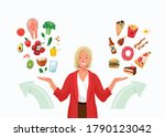 choice between healthy and... | Shutterstock .eps vector #1790123042