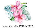 flowers and palm leaves ... | Shutterstock . vector #1790142128