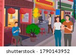 chinese shopping street with...   Shutterstock .eps vector #1790143952
