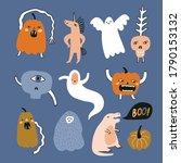 funny vector halloween sticker... | Shutterstock .eps vector #1790153132