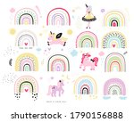 rainbow with unicorn kid's...   Shutterstock .eps vector #1790156888