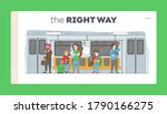 people going by subway landing...   Shutterstock .eps vector #1790166275