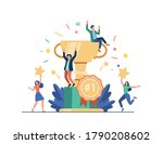 team of happy employees winning ... | Shutterstock .eps vector #1790208602