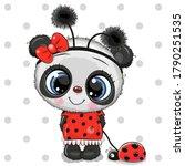 cartoon cute panda bear girl in ... | Shutterstock .eps vector #1790251535