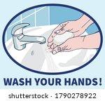 wash your hands sign vector...   Shutterstock .eps vector #1790278922