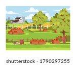 farm with fruit trees semi flat ... | Shutterstock .eps vector #1790297255