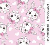 seamless pattern cute rabbit... | Shutterstock . vector #1790301005