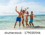 young happy friends havin fun... | Shutterstock . vector #179030546
