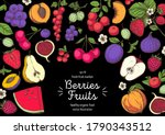 berries and fruits colorful... | Shutterstock .eps vector #1790343512