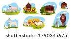 Farm Animal Set With Sheep  Cow ...