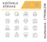 set line icons of care and... | Shutterstock .eps vector #1790381258