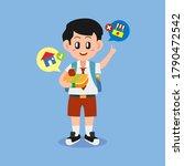 school boy holding meal lunch... | Shutterstock .eps vector #1790472542
