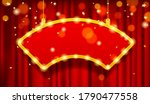 hanging cambered red signboard... | Shutterstock . vector #1790477558