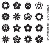 set of flat flower icons in... | Shutterstock . vector #179048825