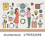 zero waste items. people doing... | Shutterstock .eps vector #1790532698