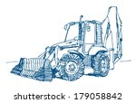 modern tractor sketch drawing... | Shutterstock .eps vector #179058842