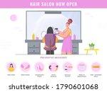 hair salon now open poster...   Shutterstock .eps vector #1790601068