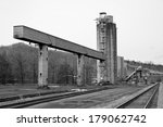 A Closed Down Coal Tipple used to Load Coal for Transport in the Coal Fields - stock photo