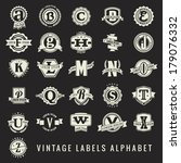 set of vintage labels alphabet | Shutterstock .eps vector #179076332