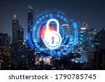 glowing padlock hologram  night ... | Shutterstock . vector #1790785745