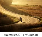 motorcycle on countryside road... | Shutterstock . vector #179080658