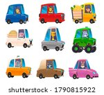 cute animals in funny cars.... | Shutterstock .eps vector #1790815922