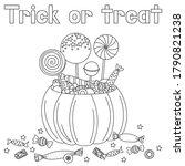 halloween pumpkin and candies... | Shutterstock .eps vector #1790821238